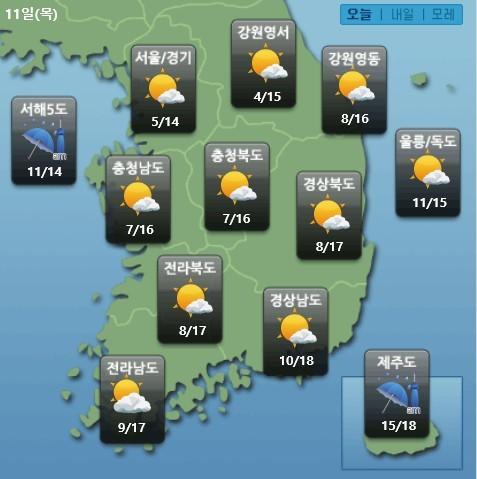 오늘의 날씨 11일 케이웨더.jpg
